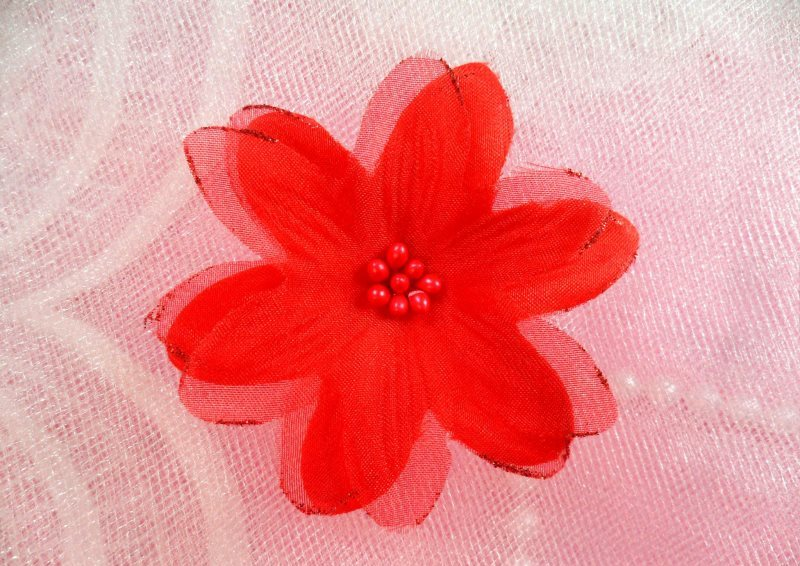 Organza Flower Applique 3D Sheer Red Glitter Beaded 2.5 (GB422-rd)