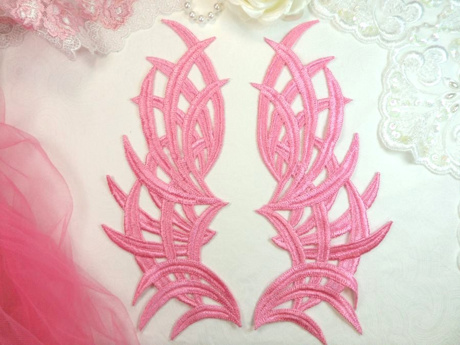 Embroidered Appliques Pink Mirror Pair Venice Lace Dance Costume DIY 8.5 (GB433X)