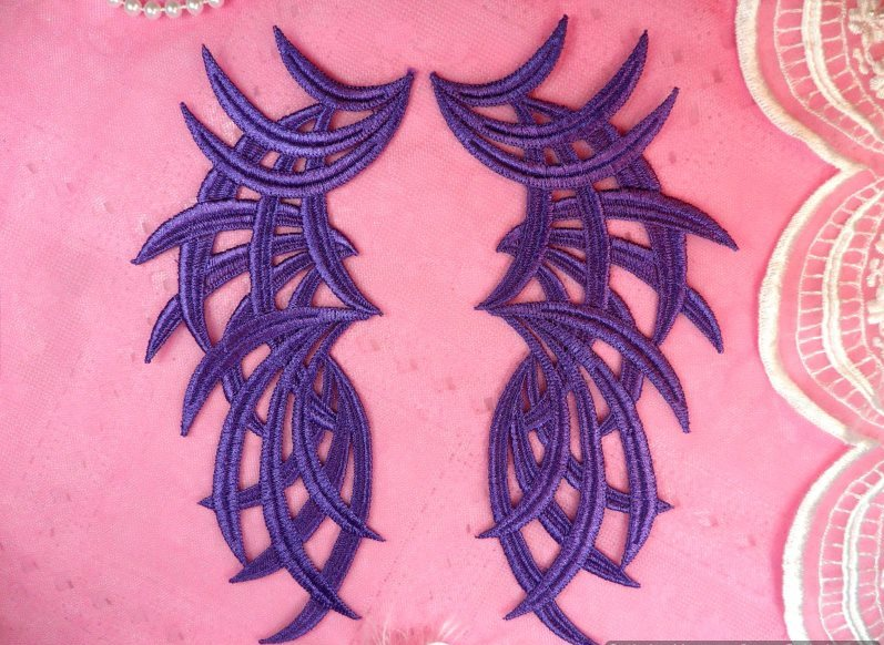 Embroidered Appliques Mirror Pair Venice Lace 8.5 (GB433X-pur)