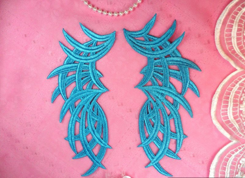 Embroidered Appliques Turquoise Mirror Pair Venice Lace 8.5 (GB433X-tr)