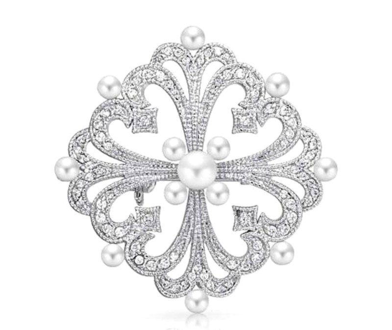 Bridal Rhinestone Brooch Pin Silver Crystal Pearl Glass 2 (GB437-slcrp)