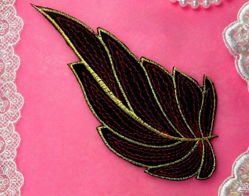 Leaf Applique Black Burgundy and Gold Metallic Embroidered Iron On 7 (GB442)