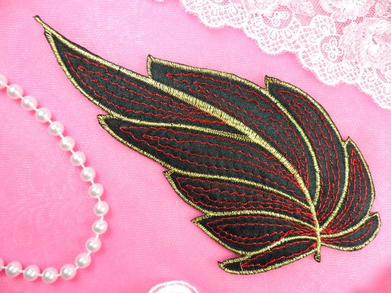 Leaf Applique Black Red and Gold Metallic Embroidered Iron On 7 (GB448)