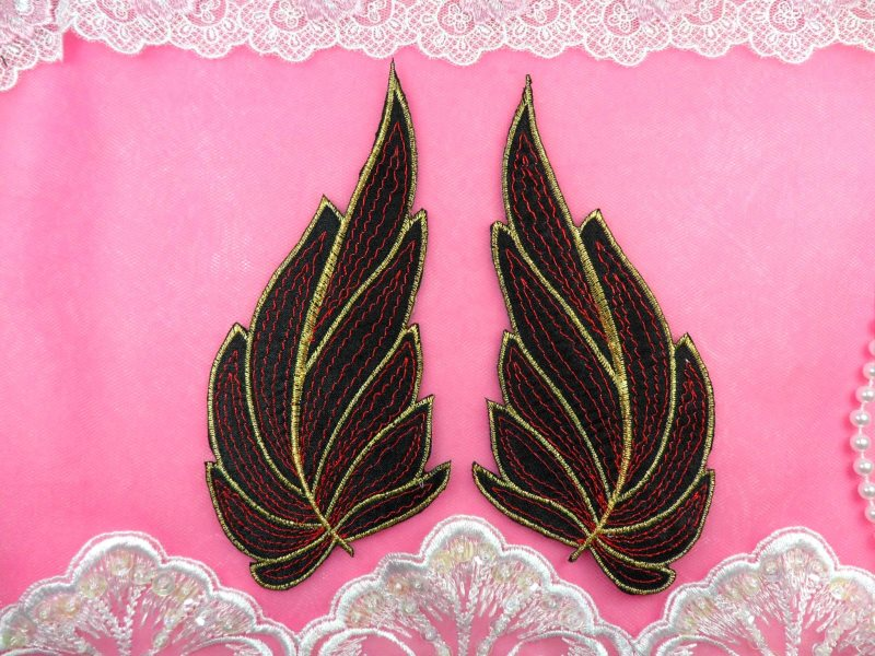 ONE SIDE Leaf Appliques Mirror Pair Black Red and Gold Metallic Embroidered Iron On 7 (OSGB449)