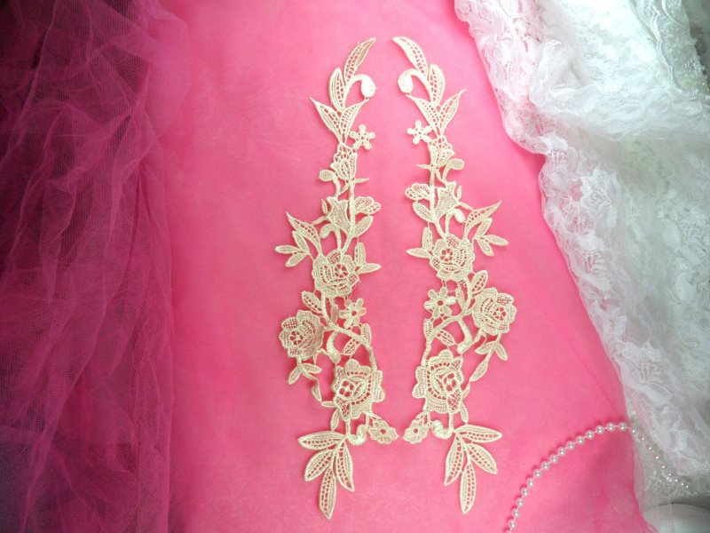 Embroidered Appliques Ivory Mirror Pair Floral 13 (GB458X-iv)