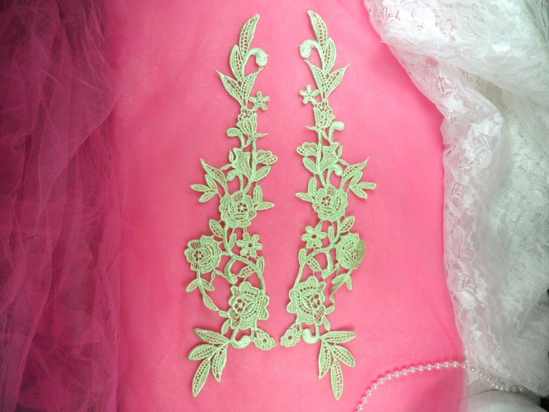 Embroidered Appliques Lime Green Mirror Pair Floral 13 (GB458X-lm)