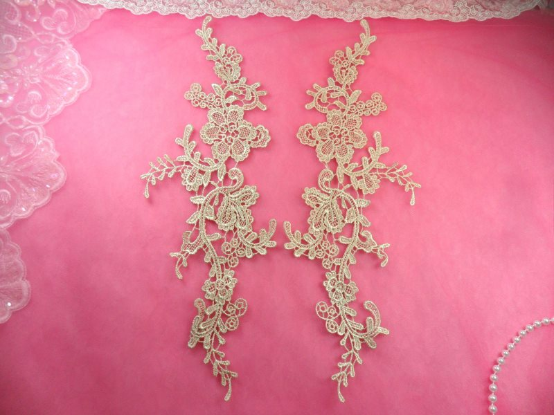 Embroidered Appliques Beige Mirror Pair Floral 12 (GB459X-bg)