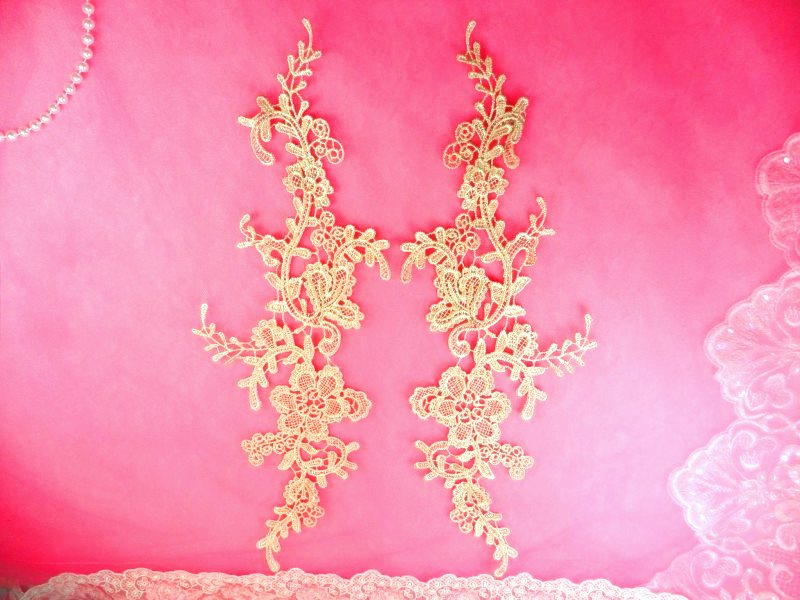 Embroidered Appliques Champagne Mirror Pair Floral 12 (GB459X)