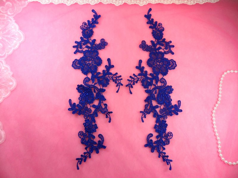 Embroidered Appliques Blue Mirror Pair Floral 12 (GB459X-bl)