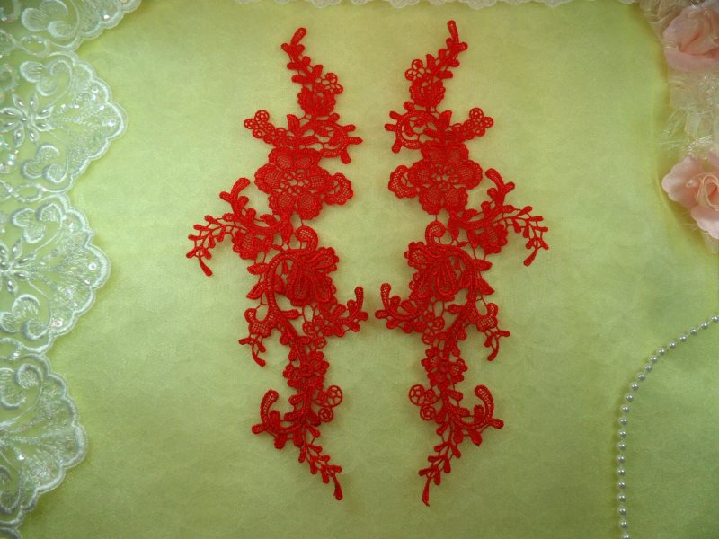 Embroidered Appliques Red Mirror Pair Floral 12 (GB459X-rd)