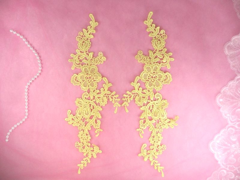 Embroidered Appliques Light Yellow Mirror Pair Floral 12 (GB459X)