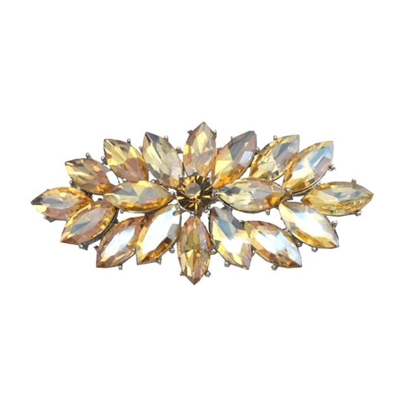 Marquise Brooch Silver Champagne Crystal Rhinestone Glass Pin 3 (GB467-ch)