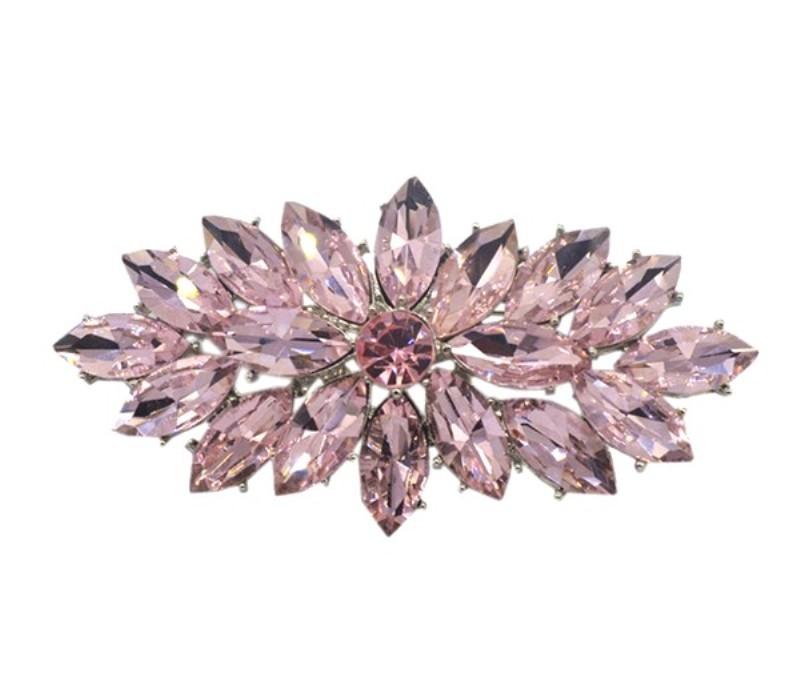 Marquise Brooch Silver Pink Ice Crystal Rhinestone Glass Pin 3 (GB467-pk)
