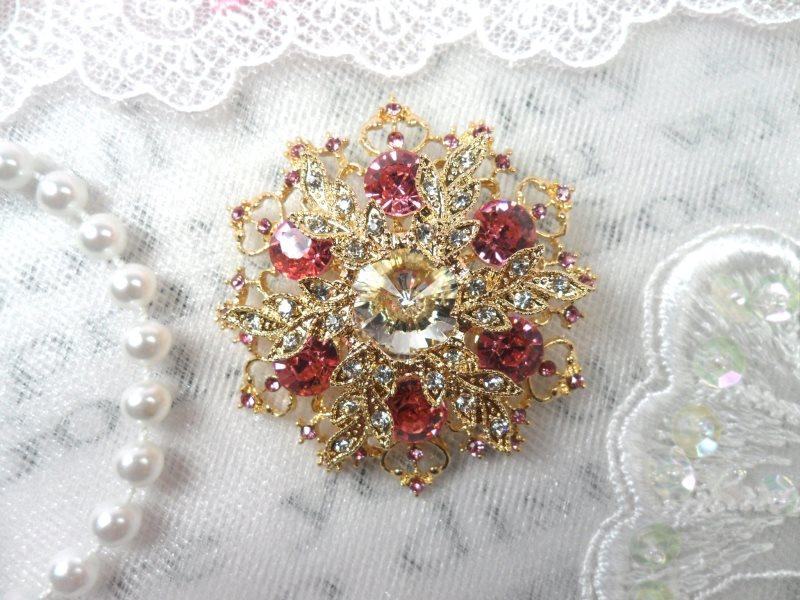 Snowflake Brooch Gold Pink Ice Crystal Rhinestone Glass Pin 2 (GB468-pkgl)