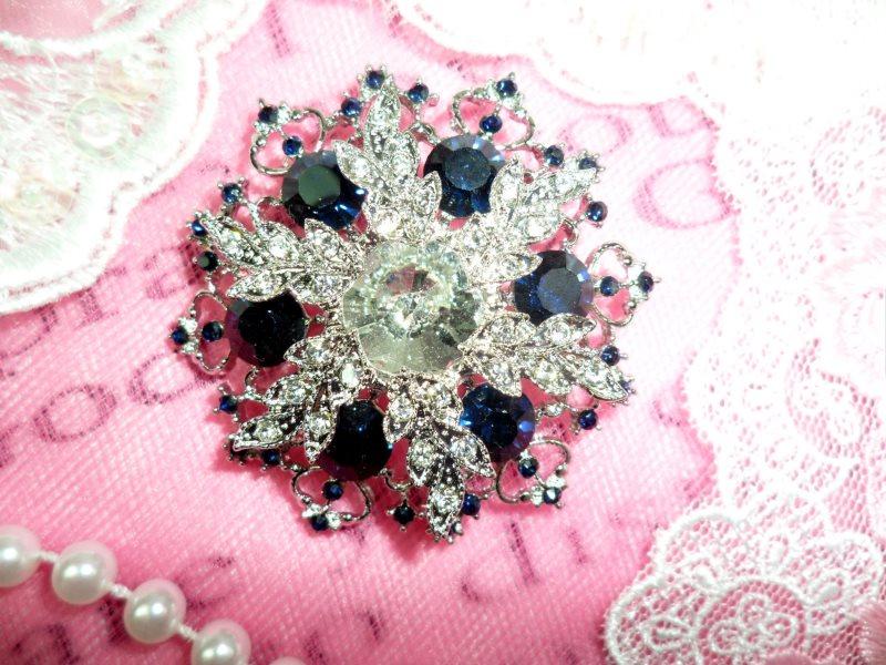 Snowflake Brooch Silver Sapphire Blue Crystal Rhinestone Glass Pin 2 (GB468-sasl)