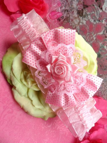 GB47 Pink Rose Floral Lace Bow Headband 3.5\