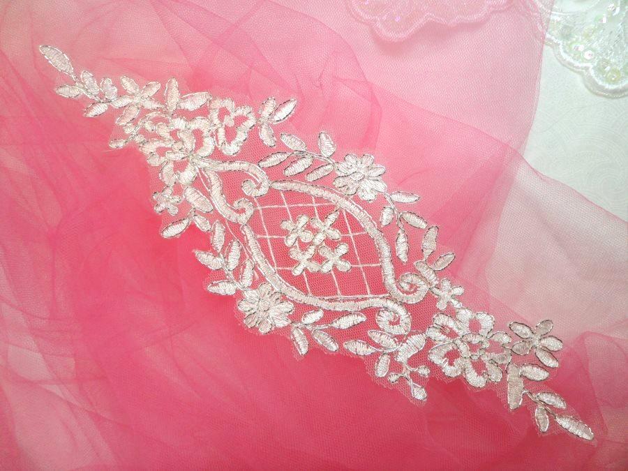 Applique White Silver Venice Lace Victorian Bridal Motif 9 (GB474)