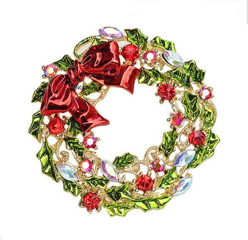 Rhinestone Christmas Brooch Wreath with Bow Gold Metal Pin 1.75 (GB488)