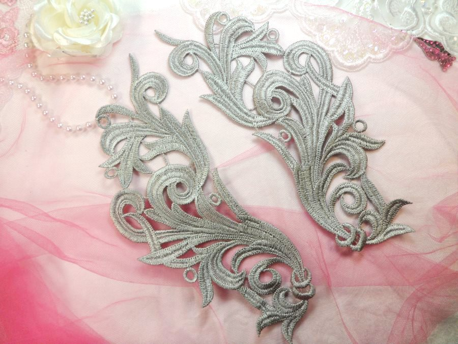 Embroidered Appliques Grey Scroll Design Mirror Pair Motifs Patch 9 (GB490X)