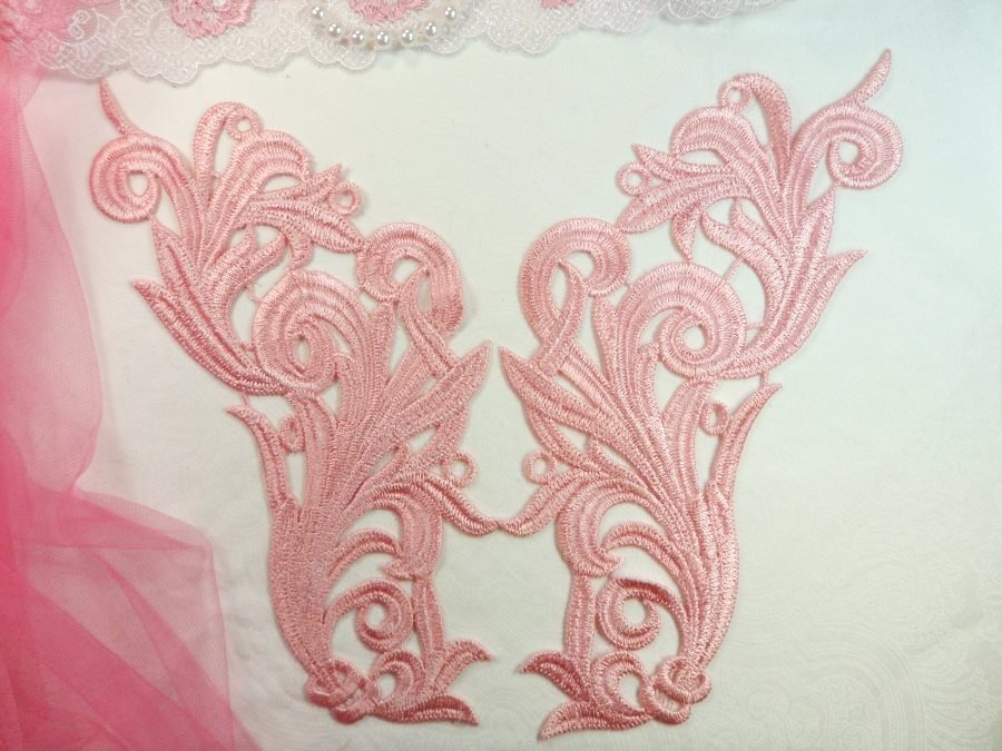 Embroidered appliques light pink scroll design mirror pair motif