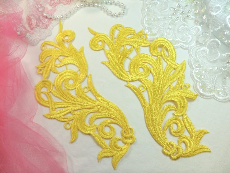 Embroidered Appliques Yellow Scroll Design Mirror Pair Motifs Patch 9 (GB490X)