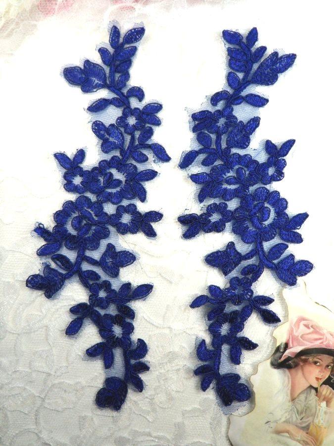 Blue Floral Appliques Venise Lace Mirror Pair Dance Motif Costume Patch 10 (GB491X)