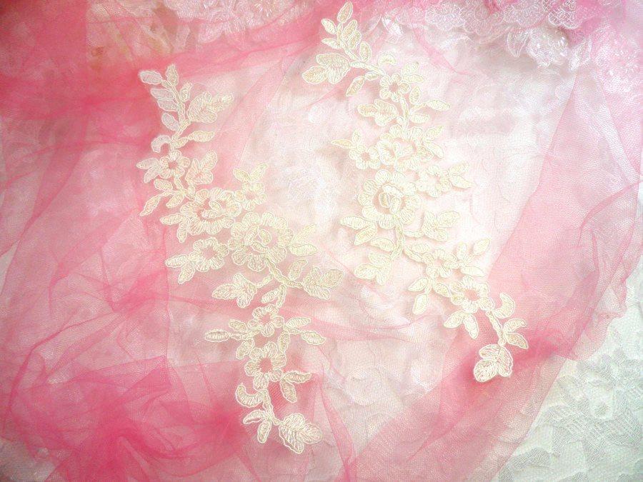 Ivory Floral Appliques Venise Lace Mirror Pair Dance Motif Costume Patch 10 (GB491X)