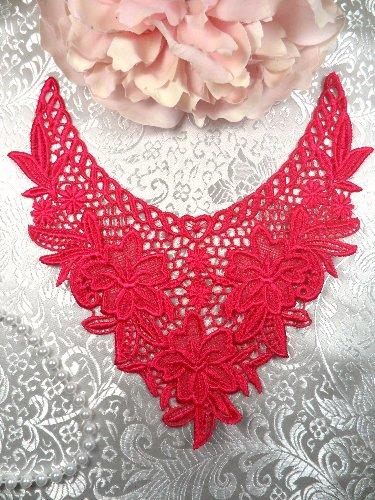 GB50 Fuchsia Floral Collar Yoke Bodice Embroidered Flower Applique 7.5\