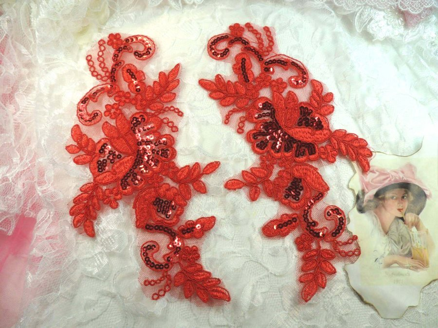 Sequined Lace Embroidered Appliques Red Mirror Pair Floral Ballet Motifs 9.75 (GB501X)