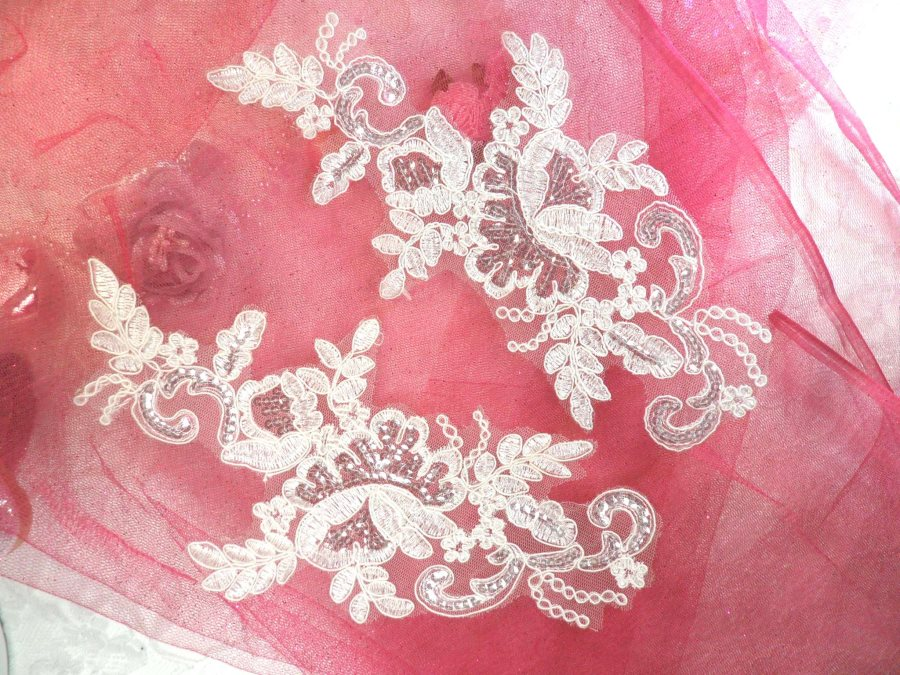 LEFT SIDE ONLY Sequined Lace Embroidered Appliques White Crystal Mirror Pair Floral Ballet Motifs 9.75 (OSGB501X)