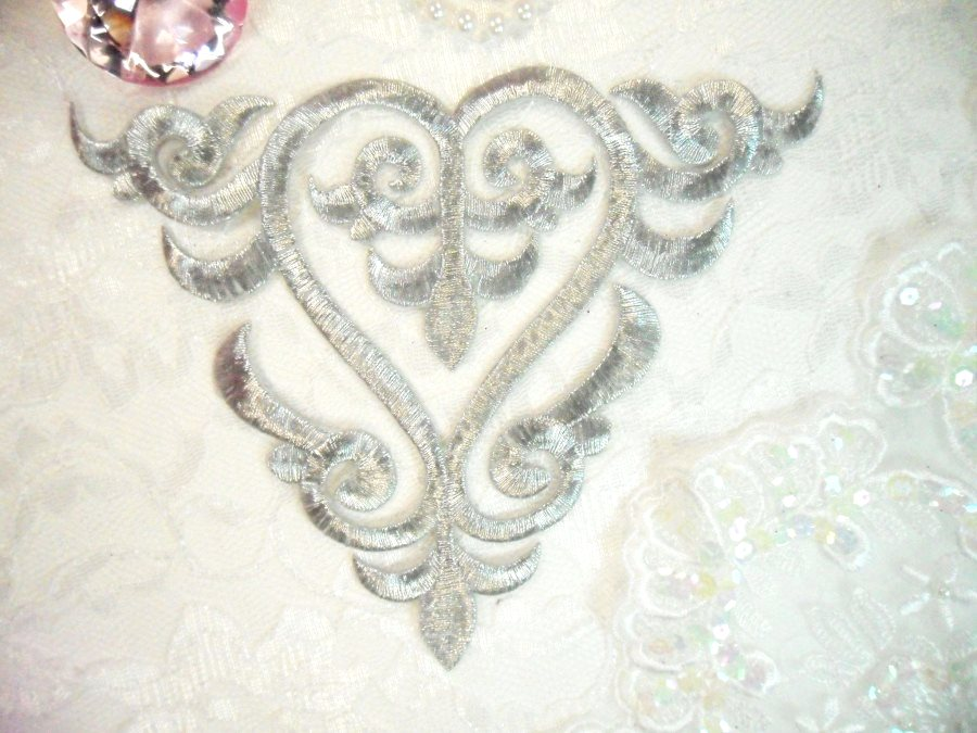 Embroidered Applique Silver Metallic Iron On Patch DIY Clothing Designs 7 (GB502)