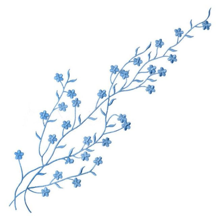 Embroidered Applique Light Blue Floral Vine Iron On Patch DIY Clothing Designs 17 (GB503)