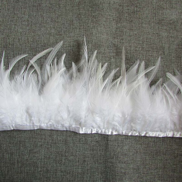 (REMNANT 15) White Feather Fringe Trim (RMGB537-15)