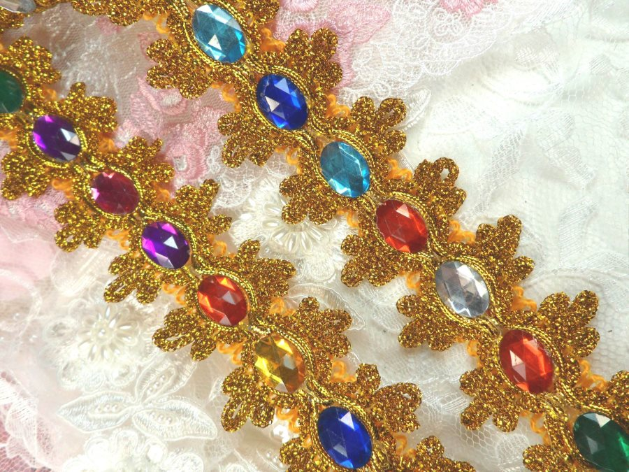 Acrylic Multi-colored Jeweled Trim surrounded by Gold Metallic 1.75 (GB515)