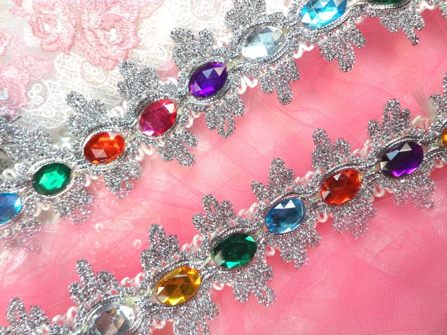 RMGB515 30 REMNANT Acrylic Multi-colored Jeweled Trim surrounded by Silver Metallic