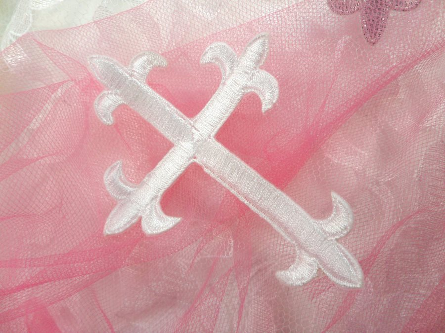 White cross embroidered applique iron on patch