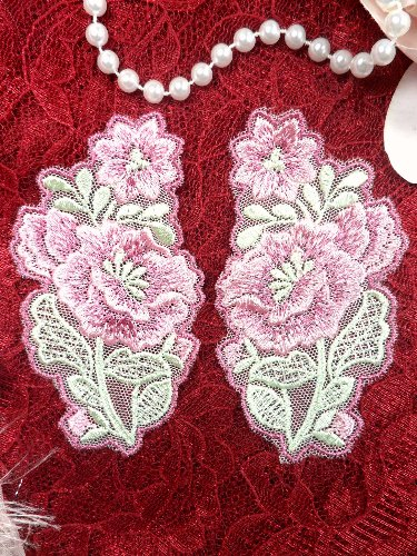 GB51x Peony Flower Pink Green Venice Lace Floral Applique Mirror Pair 4\