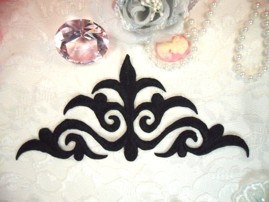 Embroidered Applique Black Iron On Patch DIY Clothing Designs 8 (GB521)