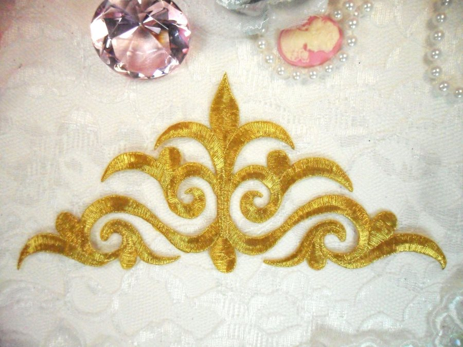 Embroidered Applique Gold Metallic Iron On Patch DIY Clothing Designs 8 (GB521)