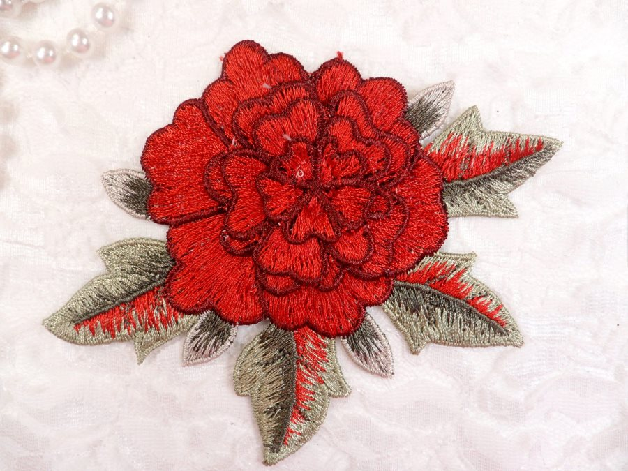 3D Floral Applique Red Embroidered Flower W/Dark Red Edging 5 (GB522)