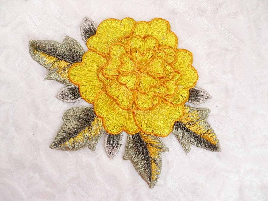 3D Floral Applique Yellow Embroidered Flower W/Dark Yellow Edging 5 (GB522)
