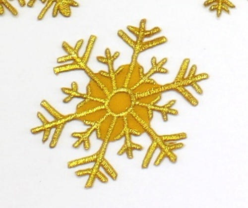 Gold Metallic Snowflake Applique Patch Motif Embroidered (GB535)