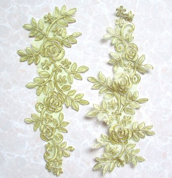 Embroidered Appliques Light Metallic Gold Floral Mirror Pair Fabulous Detail 14 (GB538X)