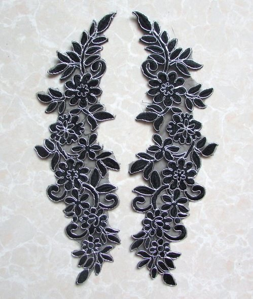 Embroidered Appliques Black Silver Floral Mirror Pair Fabulous Detail 13 (GB539X)