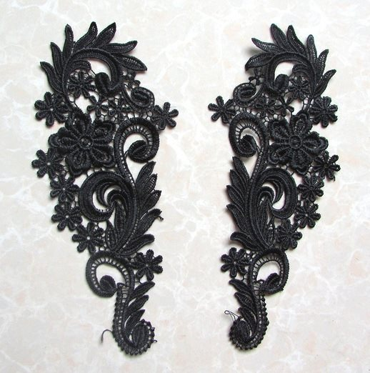 Embroidered Appliques Black Floral Mirror Pair Fabulous Detail 9.75 (GB540X)