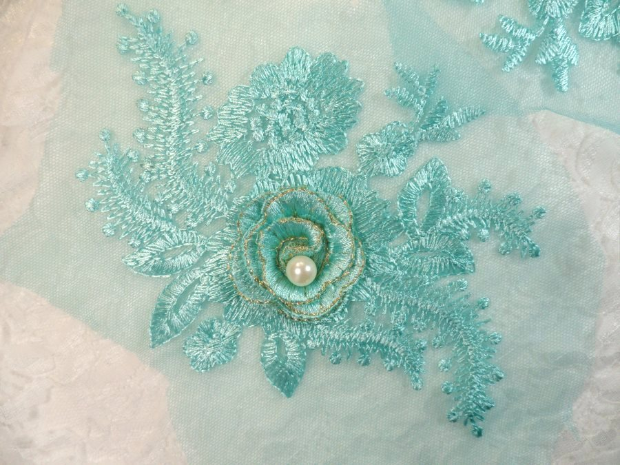 Teal 3D Embroidered Floral Venise Lace With Pearl Applique 7 (GB560)