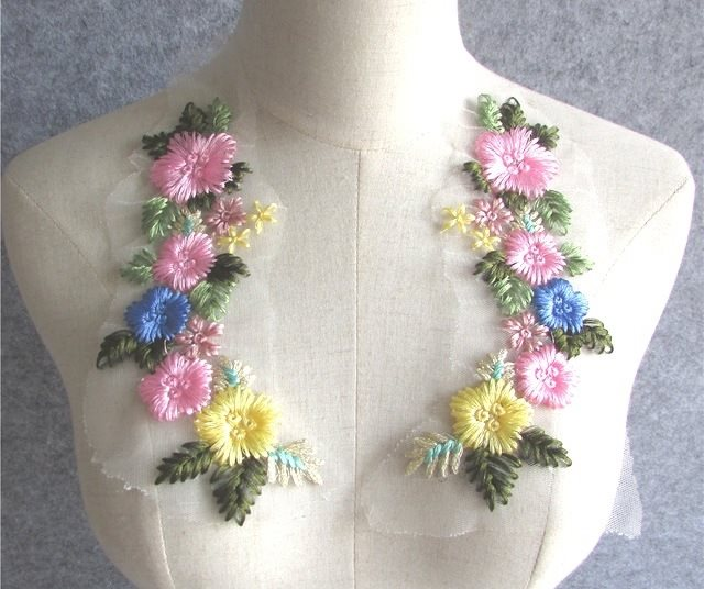Embroidered Appliques Pastel Floral Mirror Pair Fabulous Detail 6.75 (GB541X)