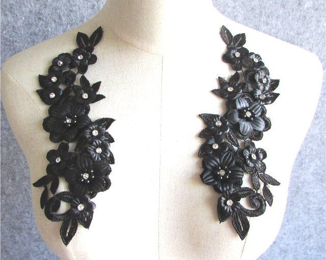 3D Embroidered Silk Rhinestone Appliques Black Floral Mirror Pair 8 (GB544X)