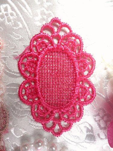 GB55 Fuchsia Victorian Oval Net Embroidered Applique 2.25\