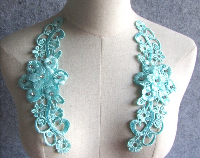 3D Embroidered Silk Appliques Teal Floral Mirror Pair With Rhinestones 8.75 (GB550X)